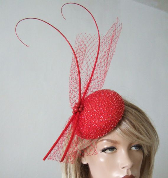 "Red Silk Beaded Veil Quills Cocktail Hat Button Headpiece Fascinator ""Kristina"""
